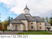 Деревянная церковь Иоанна Крестителя. Пуумала. Финляндия (2019 год). Редакционное фото, фотограф Румянцева Наталия / Фотобанк Лори