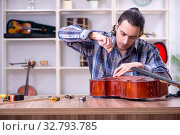 Купить «Young handsome repairman repairing cello», фото № 32793785, снято 4 апреля 2019 г. (c) Elnur / Фотобанк Лори