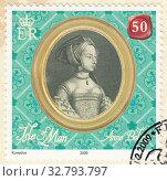 Купить «Анна Болейн (Anne Boleyn) - королева консорт Англии, вторая супруга короля Англии Генриха VIII Тюдора. Почтовая марка Острова Мэн 2009 года», иллюстрация № 32793797 (c) александр афанасьев / Фотобанк Лори