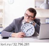 Купить «Businessman employee in urgency and deadline concept with alarm», фото № 32796281, снято 11 января 2018 г. (c) Elnur / Фотобанк Лори