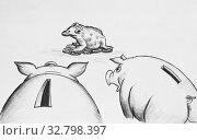 Купить «Две свиньи-копилки и денежная жаба», иллюстрация № 32798397 (c) Олег Хархан / Фотобанк Лори