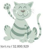 Cartoon Illustration of Funny Tabby Cat Animal Mascot Character. Стоковое фото, фотограф Zoonar.com/Igor Zakowski / easy Fotostock / Фотобанк Лори