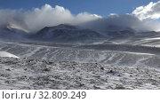 Купить «Time-lapse video of blizzard and strong snow windstorm in Altai Kuray mountain range in winter season.», видеоролик № 32809249, снято 15 сентября 2019 г. (c) Serg Zastavkin / Фотобанк Лори