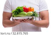 Купить «Man in healthy eating concept», фото № 32815765, снято 23 января 2017 г. (c) Elnur / Фотобанк Лори