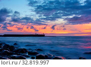 Купить «Seascape with Atlantic ocean and the sky at twilight», фото № 32819997, снято 14 декабря 2019 г. (c) Роман Сигаев / Фотобанк Лори