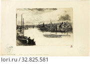 Battersea Reach, 1863, Francis Seymour Haden, English, 1818-1910, England, Etching with drypoint on ivory laid paper, 151 × 226 mm (image/plate), 222 × 352 mm (sheet) Редакционное фото, фотограф ARTOKOLORO QUINT LOX LIMITED / age Fotostock / Фотобанк Лори