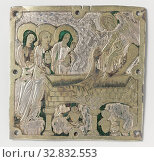 Plaque with representation of the three women at the grave, Square, silver plaque with a shallow insertion of the three women at the grave. The grave is... Редакционное фото, фотограф ARTOKOLORO QUINT LOX LIMITED / age Fotostock / Фотобанк Лори