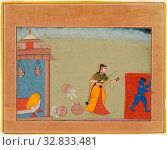 Yashoda Chastises Her Foster Son, the Youthful Krishna, page from a manuscript of the Bhagavata Purana, c. 1600, India, Rajasthan, Bikaner, India, Opaque... Редакционное фото, фотограф ARTOKOLORO QUINT LOX LIMITED / age Fotostock / Фотобанк Лори