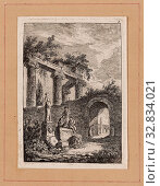 Купить «Plate Three from Evenings in Rome, 1763/64, Hubert Robert, French, 1733–1808, France, Etching in black on off-white laid paper, tipped onto tan laid paper...», фото № 32834021, снято 17 сентября 2019 г. (c) age Fotostock / Фотобанк Лори