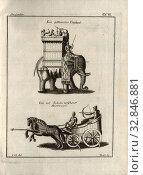 Купить «A gethürnter Elephant and a sickle-armed chariot Onosander, War Elephant and Chariot, signed: C. H. del, Verelst fc, Tab. VI, after p. 56, H., C. (del...», фото № 32846881, снято 5 июня 2020 г. (c) age Fotostock / Фотобанк Лори