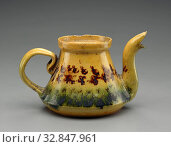 George E. Ohr, American, 1857-1918, Teapot without lid, ca. 1900, earthenware, Overall: 3 3/4 × 7 × 4 1/2 inches (9.5 × 17.8 × 11.4 cm) Редакционное фото, фотограф ARTOKOLORO QUINT LOX LIMITED / age Fotostock / Фотобанк Лори