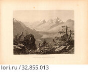 Upper Engadin Ct. Grisons, Upper Engadin in the canton of Graubünden, signed: C. Huber (sculp.), Taf. 87, p. 179, Huber, Caspar Ulrich (sculp.), 1870,... Редакционное фото, фотограф ARTOKOLORO QUINT LOX LIMITED / age Fotostock / Фотобанк Лори