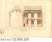 Crosby Hall, London, Cross section of the historic Crosby Hall building in London, signed: J. Palmer del, J. Roffe, sc, Published by Longman & Co, Fig... Редакционное фото, фотограф ARTOKOLORO QUINT LOX LIMITED / age Fotostock / Фотобанк Лори