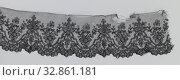 Купить «Bobbin lace strip with hollow and convex double frames, Black Bobbin lace strip: Chantilly lace. A lattice base has an empty top and a symmetrical design...», фото № 32861181, снято 7 июля 2020 г. (c) age Fotostock / Фотобанк Лори