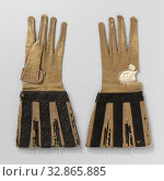 Купить «Goat glove (?) Leather, ocher colored with incised, loose caps decorated with black satin ribbon embroidered with a black silk floral pattern, Left goat...», фото № 32865885, снято 22 февраля 2020 г. (c) age Fotostock / Фотобанк Лори