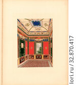 Pompeian Room, Room of the summer house in the garden of Buckingham Palace, Taf. 16, p. 11, Ludwig Gruner, Anna Jameson: The decorations of the garden... Редакционное фото, фотограф ARTOKOLORO QUINT LOX LIMITED / age Fotostock / Фотобанк Лори