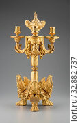 Купить «Jean Louis Prieur, French, 1725-1785, Candelabra, ca. 1766, Gilt bronze, Overall: 25 7/8 × 14 1/2 × 12 1/2 inches (65.7 × 36.8 × 31.8 cm)», фото № 32882737, снято 3 июля 2020 г. (c) age Fotostock / Фотобанк Лори