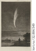 Купить «The Comet of Donati, 1858, 10 October 1858. In the foreground a man with a dog by a river. In the background on the left a church tower, comet, river ...», фото № 32884549, снято 14 июля 2020 г. (c) age Fotostock / Фотобанк Лори