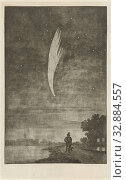 Купить «The Comet of Donati, 1858, 10 October 1858. In the foreground a man with a dog by a river. In the background on the left a church tower., Comet, river...», фото № 32884557, снято 14 июля 2020 г. (c) age Fotostock / Фотобанк Лори