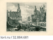 Ruins on the Magdalenasteenweg in Brussels, 1695 Vue des Ruines de rue de l'Eglise de la Magdelaine montant à Court (title on object) Perspectives of the... Редакционное фото, фотограф ARTOKOLORO QUINT LOX LIMITED / age Fotostock / Фотобанк Лори