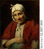 Old Jewish Woman, Study of an old Jewish woman, sitting with the right arm on the belly, with a white cap on the head., Meijer Isaäc de Haan, 1880, canvas, oil paint (paint), h 63 cm × w 52 cm d 13 cm. Редакционное фото, фотограф ARTOKOLORO QUINT LOX LIMITED / age Fotostock / Фотобанк Лори