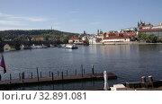 View of Charles bridge in autumn sunny day. Prague. Czech republic. Стоковое видео, видеограф Яков Филимонов / Фотобанк Лори