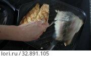Купить «Fillet of river trout fried in pan», видеоролик № 32891105, снято 26 мая 2019 г. (c) Яков Филимонов / Фотобанк Лори