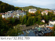 Купить «Karlovy Vary, Czech Republic - October 11, 2019: Karlovy Vary. Sights and beauty of the city», фото № 32892789, снято 11 октября 2019 г. (c) Яков Филимонов / Фотобанк Лори