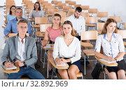 Купить «Young people on training session», фото № 32892969, снято 25 июля 2018 г. (c) Яков Филимонов / Фотобанк Лори