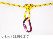 New pink oval touristic and alpinistic carabine hangs from Butterfly loop knot. Stretched colored, green rope for personal belaying. Self-insurance mustache. Isolated on white background. Стоковое фото, фотограф Алексей Ширманов / Фотобанк Лори