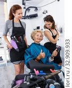 Купить «Hairstylists and satisfied female customer after haircut», фото № 32909933, снято 26 июня 2018 г. (c) Яков Филимонов / Фотобанк Лори