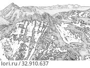Купить «Northern landscape. The mountains are covered with glaciers. View from helicopter flight altitude», иллюстрация № 32910637 (c) Евгений Ткачёв / Фотобанк Лори