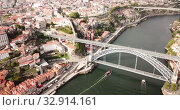 Day aerial cityscape of Porto city in Portugal (2019 год). Стоковое видео, видеограф Яков Филимонов / Фотобанк Лори