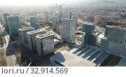 Modern high-rise buildings in the coastal residential areas of Diagonal Mar and Poblenou (2019 год). Редакционное видео, видеограф Яков Филимонов / Фотобанк Лори