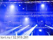 Купить «Spotlights and laser beams. Concert light. Stage lights. Soffits.», фото № 32919281, снято 25 февраля 2020 г. (c) Евгений Ткачёв / Фотобанк Лори