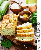 Купить «Unsweetened zucchini cake», фото № 32920433, снято 25 июля 2019 г. (c) Надежда Мишкова / Фотобанк Лори