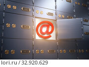 E-mail security and protection internet concept. Sign of email with safe deposit box. Стоковое фото, фотограф Maksym Yemelyanov / Фотобанк Лори