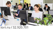 Купить «Business people working in coworking space», фото № 32920701, снято 10 марта 2018 г. (c) Яков Филимонов / Фотобанк Лори