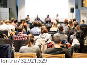 Купить «Round table discussion at business conference event.», фото № 32921529, снято 9 декабря 2019 г. (c) Matej Kastelic / Фотобанк Лори