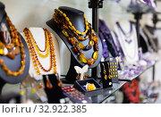 Купить «Amber necklaces, earrings and pendants», фото № 32922385, снято 25 февраля 2020 г. (c) Яков Филимонов / Фотобанк Лори