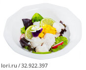 Cod ceviche with mango. Стоковое фото, фотограф Яков Филимонов / Фотобанк Лори