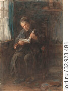The rabbi, rabbi, reading, Jozef Israels (mentioned on object), 1834 - 1911, paper, deck paint, brush, h 513 mm × w 358 mm. Редакционное фото, фотограф ARTOKOLORO QUINT LOX LIMITED / age Fotostock / Фотобанк Лори