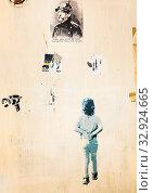 Купить «Wall covered with stencil grafitti and stickers , rome, lazio, italy», фото № 32924665, снято 17 февраля 2020 г. (c) age Fotostock / Фотобанк Лори