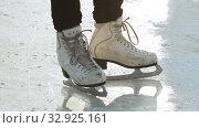Купить «A woman standing on ice rink in figure skates», видеоролик № 32925161, снято 29 марта 2020 г. (c) Константин Шишкин / Фотобанк Лори