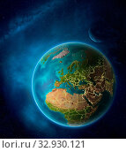 Купить «Planet Earth with highlighted Kosovo in space with Moon and Milky Way. Visible city lights and country borders. 3D illustration. Elements of this image furnished by NASA.», фото № 32930121, снято 12 июля 2020 г. (c) easy Fotostock / Фотобанк Лори
