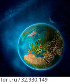Купить «Planet Earth with highlighted Belarus in space with Moon and Milky Way. Visible city lights and country borders. 3D illustration. Elements of this image furnished by NASA.», фото № 32930149, снято 12 июля 2020 г. (c) easy Fotostock / Фотобанк Лори