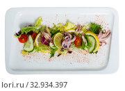 Купить «Salad with boiled squid», фото № 32934397, снято 22 февраля 2020 г. (c) Яков Филимонов / Фотобанк Лори