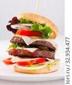 Купить «Double hamburger», фото № 32934477, снято 4 июля 2020 г. (c) Яков Филимонов / Фотобанк Лори