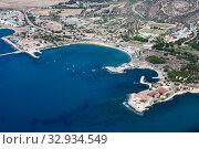 Aerial view at the Cessac Beach in Dhekelia Bay. Mediterranean sea, Cyprus island (2013 год). Стоковое фото, фотограф Кекяляйнен Андрей / Фотобанк Лори