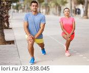 Couple training outdoors. Стоковое фото, фотограф Яков Филимонов / Фотобанк Лори